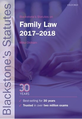 Blackstone's Statutes on Family Law 2017-2018  9780198802730