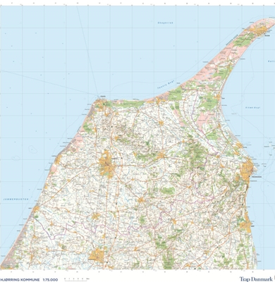 Trap Danmark: Kort over Hjørring Kommune Trap Danmark 9788771811506