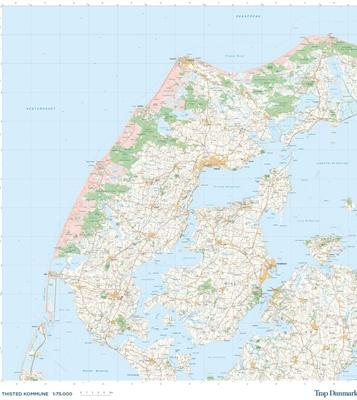 Trap Danmark: Kort over Thisted Kommune Trap Danmark 9788771811544