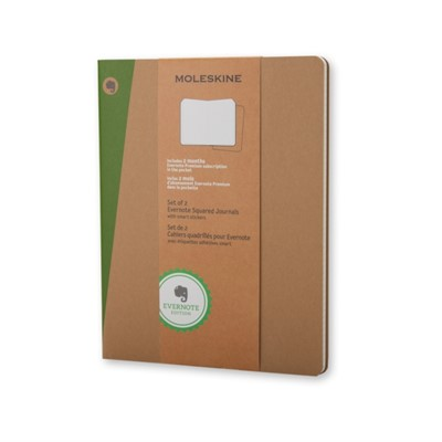Extra Large Squared Kraft Soft Evernote Journal With Smart Stickers 2 Set Moleskine 9788867323951