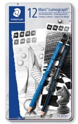 STAEDTLER Mars Lumograph tegneblyanter + Lumograph black, 12 stk.  4007817028049