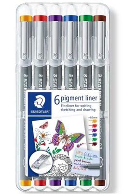 STAEDTLER Pigment liner 0,3 mm, 6 stk. ass.  4007817036747
