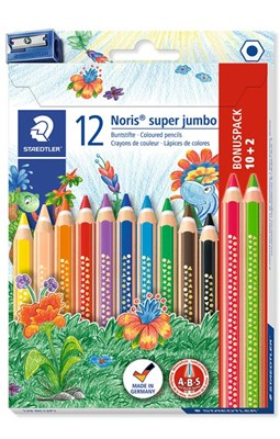 STAEDTLER Noris super jumbo sekskantede farveblyanter, 12  for 10!  4007817036815