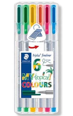 "STAEDTLER Triplus fineliner, 6 stk. ""tropical colours""  4007817039878"