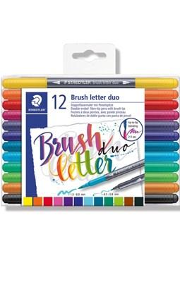 STAEDTLER Brush letter duo penseltuscher, 12 stk.  4007817042854