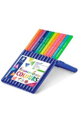 STAEDTLER Ergosoft trekantede farveblyanter, 6 alm/6 neon i stand-up boks  4007817043660