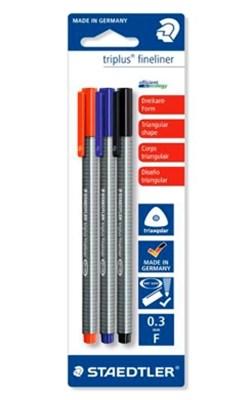 STAEDTLER Triplus fineliner, 3 stk. rød/blå/sort  4007817331248