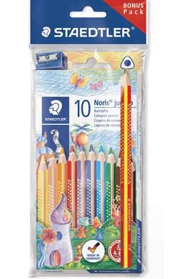 STAEDTLER Noris jumbo farveblyanter, 10 stk + regnbue farveblyant og blyantspidser  4007817609026