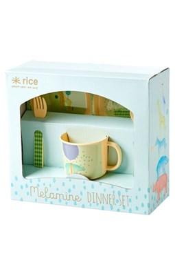 Rice Baby spisesæt i melamin, Lys blå  5708315154214