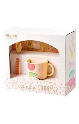 Rice Baby spisesæt i melamin, Rosa  5708315154221