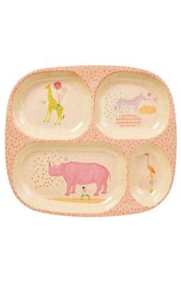 Rice 4-rums børnetallerken i bambus melamin med dyreprint, rosa  5708315154306
