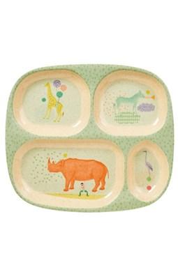Rice 4-rums børnetallerken i bambus melamin med dyreprint, lys blå  5708315154320