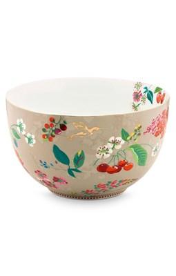PIP Studio - Skål/Bowle 23 cm, Floral Hummingbirds Khaki  8718924025055