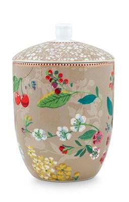 PIP Studio - Krukke, Floral Hummingbirds Khaki  8718924025840