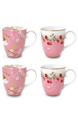 PIP Studio - Krus, 4-pak Floral Pink Large  8718924026922