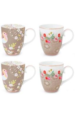 PIP Studio - Krus, 4-pak Floral Khaki Large  8718924026946