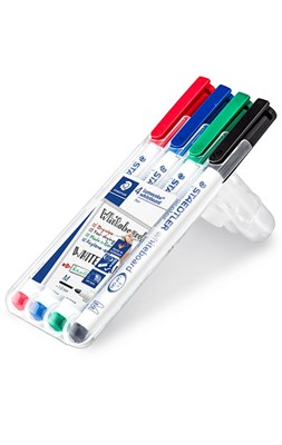 STAEDTLER Whiteboard marker 1,0 mm, 4 stk. i stand-up boks  4007817301449