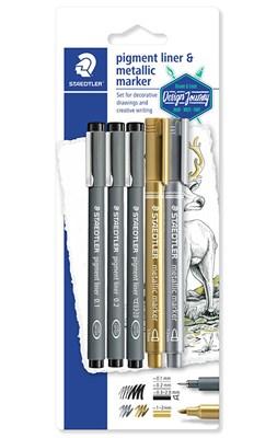 STAEDTLER Pigment liner, 3 stk. + guld & sølv marker  4007817309230