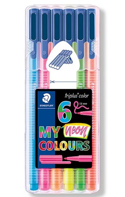 STAEDTLER Triplus color tusser, 6 stk. neonfarver  4007817011126