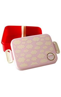 Rice Madkasse med rumdeler, Cloud print pink  5708315171204