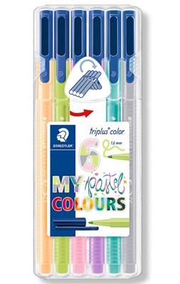 STAEDTLER Triplus color tusser, 6 stk. pastelfarver  4007817039953