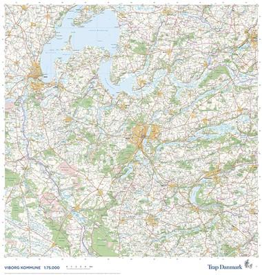 Trap Danmark: Falset kort over Viborg Kommune Trap Danmark 9788771812633