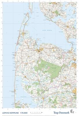 Trap Danmark: Falset kort over Lemvig Kommune Trap Danmark 9788771812596