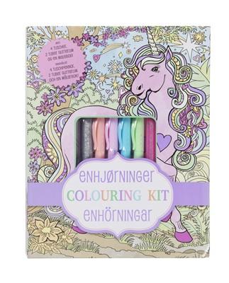 Enhjørning colouring kit - malebog med gel pens  9788771314762