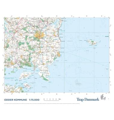 Trap Danmark: Falset kort over Odder Kommune Trap Danmark 9788771812732
