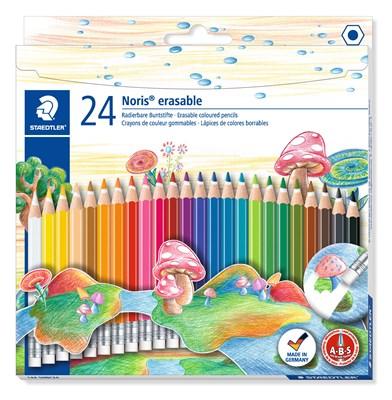 STAEDTLER Noris erasable farveblyanter m. viskelæder 24 stk.  4007817144329