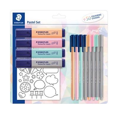 STAEDTLER Pastel sæt med 4 textsurfer classic, 4 Triplus fineliner, 4 Triplus color tusser og stickers til farvelægning  4007817063170