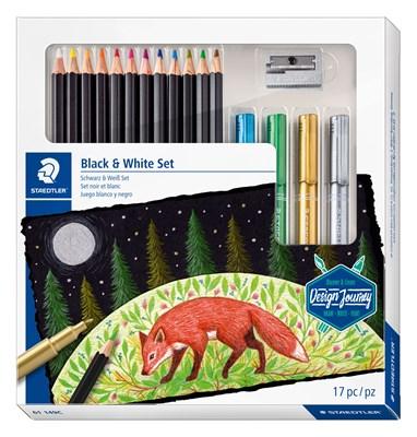 """STAEDTLER """"Black & white"""" sæt med 12 super soft farveblyanter, 4 metallic markere og blyantspidser  4007817066850"""