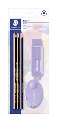 STAEDTLER pastel sæt med 3 trekantede blyanter, viskelæder og blyantspidser  4007817063347